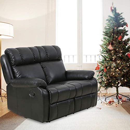 (BestMassage Recliner Sofa Loveseat Leather Sofa Recliner Couch Manual Reclining Sofa Recliner Chair, Love Seat, and Sofa for Living Room Home Furniture)
