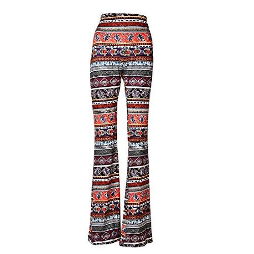 Jiayiqi Women Ethnic Tribal Stretch 70s Bell Bottom Flare Pants M