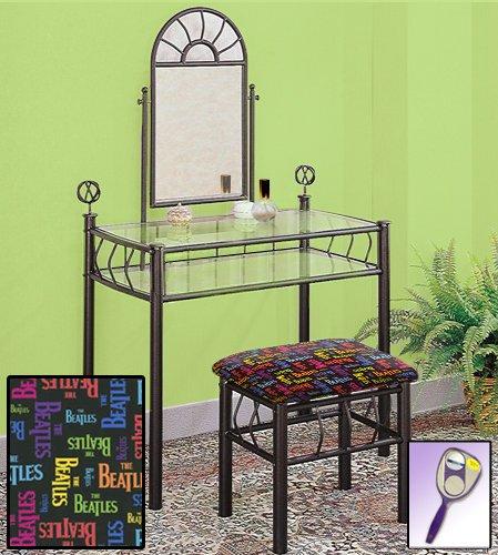 New Black Metal Sunburst Make Up Vanity Table with Mirror & Beatles Rainbow Logo Themed ()