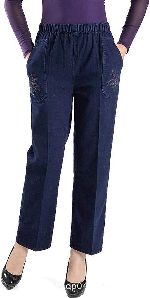 IDEALSANXUN Women's Fleece Lined Jeans Embroidery Elastic Waist Loose Long Denim Pant