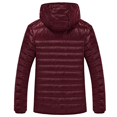 SWISSWELL Packable Lightweight Hooded Puffer Coat For Men Wine 2X-Large by SWISSWELL (Image #2)