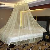 Neruti Enterprise Nylon Adults Double Bed (Round-Canopy) Mosquito Net(Light Yellow)