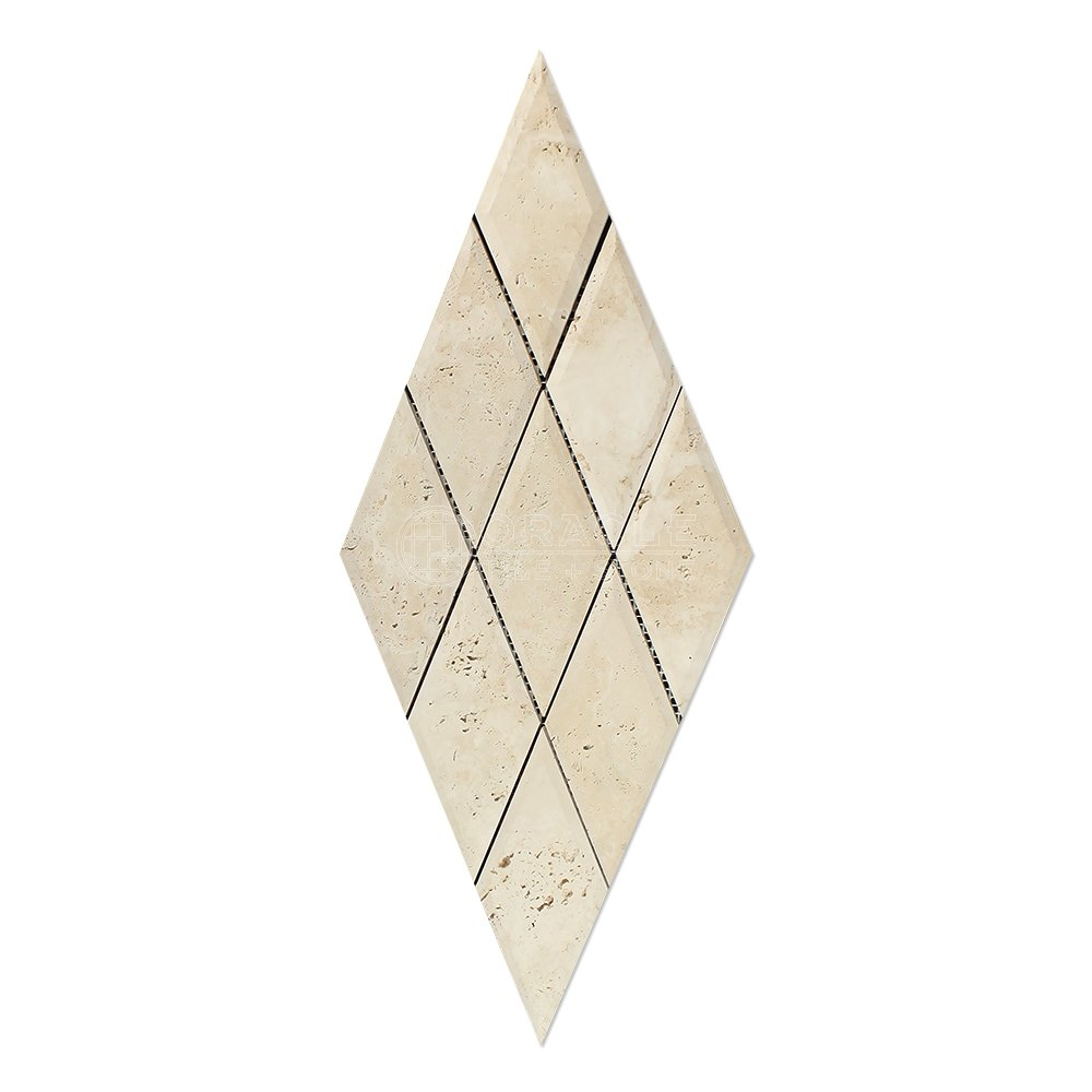 Tumbled Light Mosaic Tile Rhomboid Travertine 1 X 2 Diamond Ivory