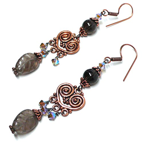 Smoky Quartz Leaf Copper Heart Chandelier Earrings (Topaz Earrings Smoky Chandelier)