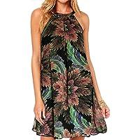 vanberfia Women's Print Chiffon Sleeveless Casual Dress
