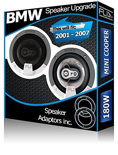 Porte avant BMW Mini Cooper Orateurs FLI Haut-parleurs de voiture + adaptateur pour haut-parleur gousses 180 W Fli Audio
