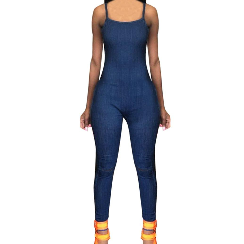Minisoya Women Backless Sling Playsuit Overalls Romper Clubwear Casual Cocktail Party Zipper Slim Denim Jumpsuit Jeans (Blue, S)
