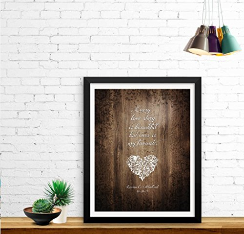 Every Love Story is Beautiful - Wedding Anniversary UNFRAMED Print- Gift, Keepsake Poster includes Couples Names and the Special Date - Perfect Gift for the Bridal Shower. Print size is 11