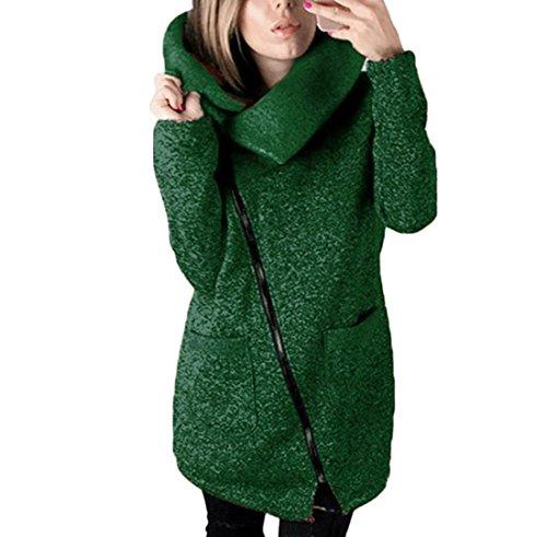 Covermason Mujer Irregular Cremallera Manga Larga Ropa de Abrigo Moda Sudaderas (L, Verde)