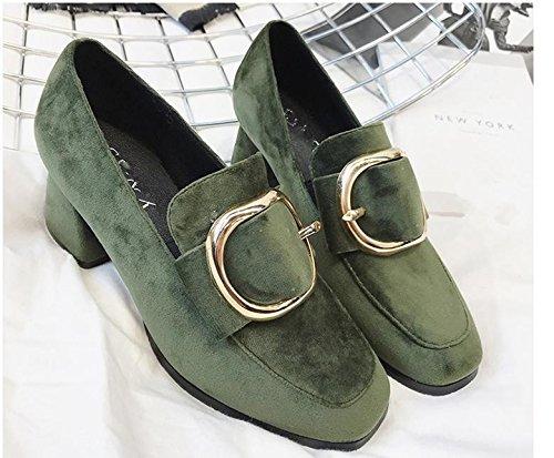 La nueva cabeza cuadrada con una sola zapatos con hebilla de lado informal zapatos de tacón alto Green