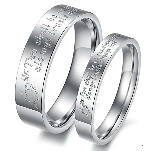 Bystar Fashion Jewelry Two Shall Be As One. Always Protects. Always Trust. Always Love Stainless Steel Promise Couple Ring