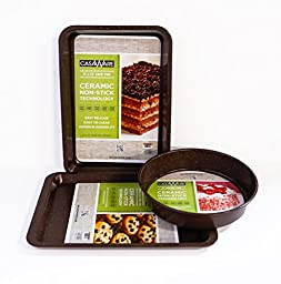 Casaware Bakeware 3pc Set Brown Granite Brown