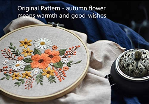Embroidery Linen Clothes with Floral Pattern Phinicco Full Range Embroidery Starter Kit with Pattern and Instructions Color Threads and Tools