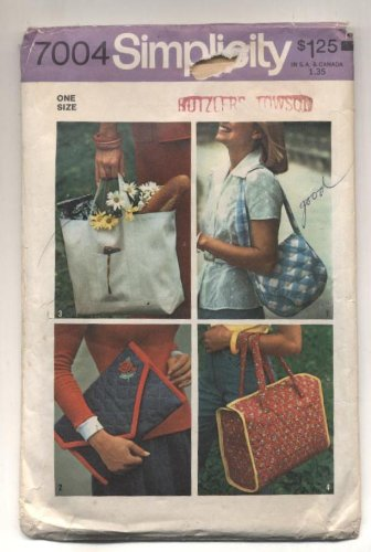 (Vintage 1975 Simplicity Pocketbooks, Totes, Bags Sewing Pattern #7004)