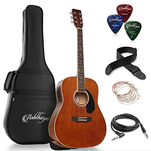 Ashthorpe Full-Size Dreadnought Acoustic-Electric Guitar Bundle – Premium Tonewoods – Brown