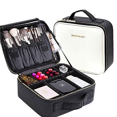 047d9096e0e5 BEGIN MAGIC Travel Makeup Train Case Makeup Bag Cosmetic Travel Bag Small Makeup  Case Organizer Case with Adjustable Dividers Brush Holder for Women ...