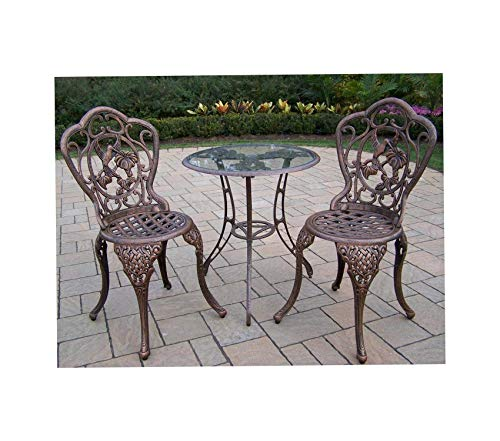 Wood & Style Patio Outdoor Garden Premium Hummingbird Cast Aluminum 24-Inch Glass Top Table with 3-Piece Bistro Set, Antique Bronze