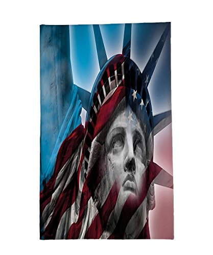 Interestlee Fleece Throw Blanket United States Statue of Liberty and American Flag Double Exposure Justice Democracy Freedom - Justice Hot Super Victoria