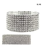 Clear Rhinestone Pave 8 Row Stretch Bracelet in Silver-Tone