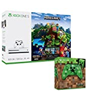 Xbox One S 500GB Minecraft Complete Adventure and Extra Minecraft Creeper Limited Edition Wireless Controller Bundle
