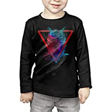 Tbagrvga Night Warrior Owl In Triangle Kids Cotton Long Sleeve Crew Neck T Shirt