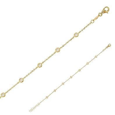 Pulsera para Mujer Niña Oro Amarillo 9 K 375 ° ajustable 19 ...