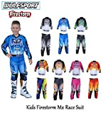 MOTORBIKE WULF FIRESTORM KIDS RACE SUIT New 2018 Motocross Quad Off Road Trials Enduro Kart ATV MTB MX Dirt Bike Pit Sport Junior Pant Shirt Kit - Pink - 5-7 years With Waist 22
