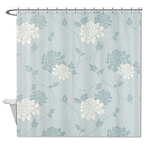 Neafts Polyester Waterproof an Duck Egg Blue Floral Shower Curtain Bathroom Decor Home Decorations With Hooks Set 72x72 Inches