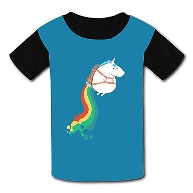 7158efb97 Amazon.com: Mtui10 Custom Kids Fat Unicorn ON Rainbow Jetpack Dilly Tee  Shirt T-Shirts for Children Boys Girls: Clothing