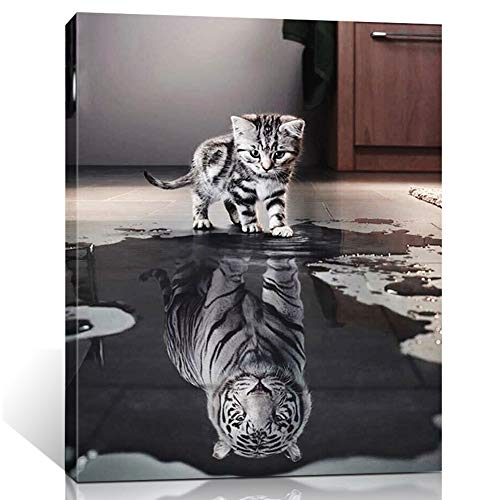 ShuaXin Wall Art Cat and Tiger Animals Painting on Canvas Stretched and Framed Canvas Paintings Ready to Hang for Home Decorations Wall Decor 16x20 inch