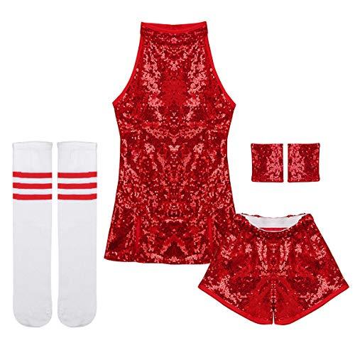 iEFiEL Kids Girls Sequins Hip Hop Modern Jazz Street Dance Costume Children Stage Performances Dress Outfit Red 4-5 ()