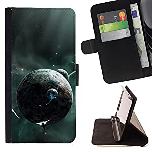 DEVIL CASE - FOR Samsung Galaxy S5 V SM-G900 - Alien Planets Spaceships Future Universe Galaxy - Style PU Leather Case Wallet Flip Stand Flap Closure Cover
