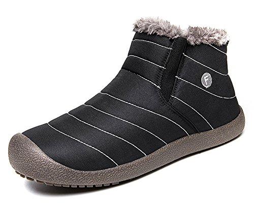 Aitaobao Donna Uomo Invernali Neve Stivali Scarpe Caldo Pelliccia Stringate Impermeabile Boots Nero