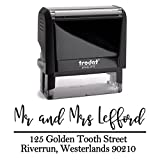 Black Ink, Personalized Custom Self Inking Return Mail Address Stamp. Sophisticated Gift for Business, Real Estate Clients, Teachers and Family, Newlyweds or for Wedding Invitations