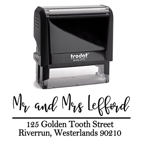 Black Ink, Personalized Custom Self Inking Return Mail Address Stamp. Sophisticated Gift for Business, Real Estate Clients, Teachers and Family, Newlyweds or for Wedding Invitations by Pixie Perfect Save The Date Stamps