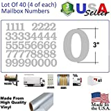 3'' Silver Color Custom Mailbox Numbers Lot of 40 (4 of each number form 0 to 9) 3 inch,Self Adhesive Vinyl Mailbox Numbers, Doors,Tool Box,Locker,Car,Truck,Address Decal Stickers (Bookman Bold)