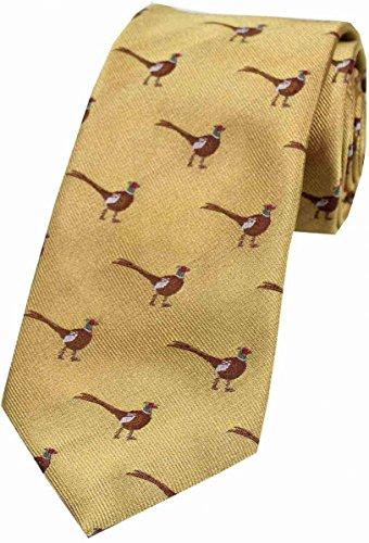 Pheasant Silk - David Van Hagen Mens Standing Male Pheasant Country Silk Tie - Gold