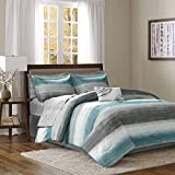 Madison Park Saben Comforter Bag Ultra Soft Down Alternative Hypoallergenic W/Cotton Texture Printed Sheets All Season Bedding-Set, Queen, Aqua