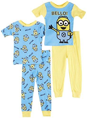 Despicable Me 2 Minion Bello! 4 Piece Toddler Cotton Pajamas for Little Boys (4T) (Minion Gru)