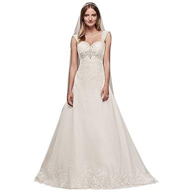 Davids Bridal Organza Empire Wedding Dress With Removable Straps