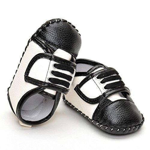 estamico pour fille en cuir à coudre en caoutchouc Sneaker - Noir - noir, 12-18mois
