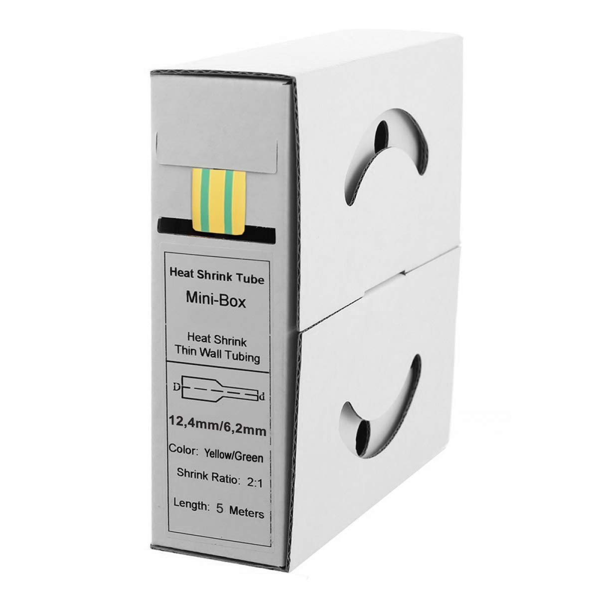Offgridtec Heat Shrink Tubing 5 m and 10 m 2:1 Yellow//Green Dispenser Box Workshop Car 1,2mm0,6mm 1