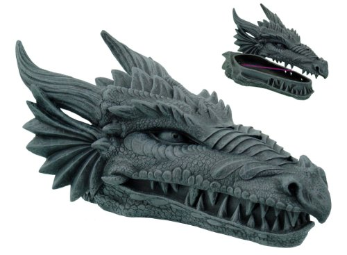 Medieval Gothic Dragon Head Sculpture Incense Burner Holder with 3 Sticks (Statue Smoking Dragon)