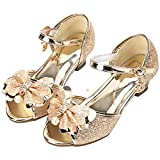 Lilybell Sandal Heels for Girls Gold Toddler Kids Wedge Dress Shoe Sequin Cute Sandals Performance Size 13.5 Wedding Princess (Gold 30)
