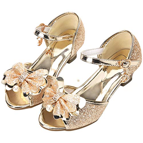 ndals for Girls Wedding Shoes Princess Size 10 M Little Flower Girl Toddler Kids Sequin Dress up Rhinestone Shoes Knot (Gold 27) ()