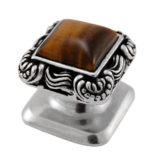 Vicenza Designs K1152 Gioiello  Square  Stone Insert  Style 6  Knob,  Tiger's Eye,  Small,  Vintage Pewter