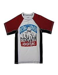 "OP Boys White Red ""Scuba Diver"" Print Short Sleeve Rashguard 4-16"