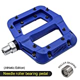 FOOKER Nylon Composite 9/16 Mountain Bike Pedals High-Strength Non-Slip Bicycle Pedals Surface For Road BMX MTB Fixie Bikes (Blue needle roller bearing)