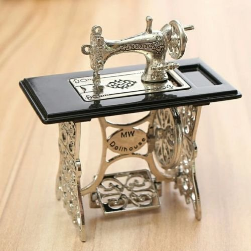 Doll house Metal Sewing Machine 1:12 scale - Pepper White Dresser