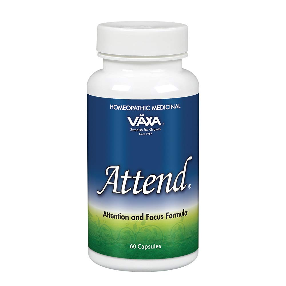 VÄXA Attend | Healthy Mental Alertness, Focus & Mood Support for Children, Teenagers & Adults | Homeopathic Formula | 60 Capsules